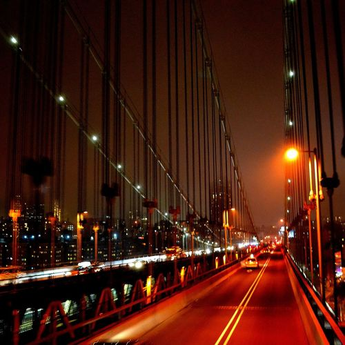 Manhattan Bridge, NY Manhattan New York New York City NYC NYC Photography Urban Urban Skyline Manhattan Bridge Red Bridge Blurred Motion Blurry Illuminated Night City Transportation Built Structure Architecture Car No People Building Exterior Motion Road Street Light City Life