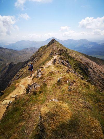 Snowdens south ridge Huaweiphotography Huawei P20 Uk Wales Snowdonia Visitwales EyeEm Selects Mountain Hiking Adventure Climbing Men Sky Landscape Mountain Range Grass Cloud - Sky Mountain Peak Mountain Ridge