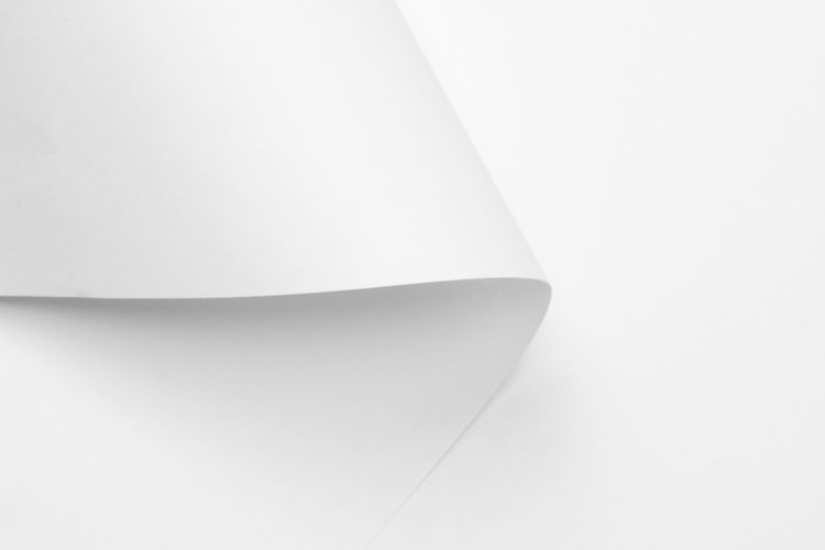 Studio Shot Indoors  White Background No People Close-up Copy Space White Color High Angle View Abstract Still Life Curve Design Paper Pattern Shape Single Object Backgrounds Simplicity White Creativity Ceiling