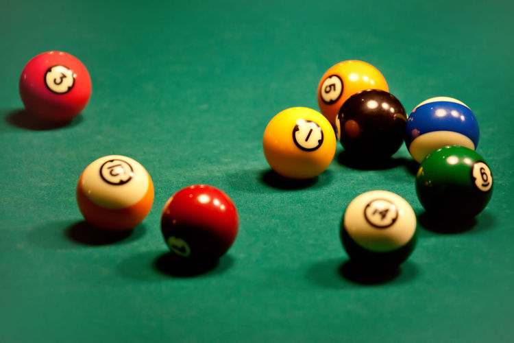 High angle view of pool balls on table