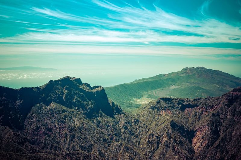 Volcanic Views, Isla De La Palma Mountain Beauty In Nature Nature Mountain Range Landscape Volcano Sky Tranquil Scene Scenics Outdoors No People Day Colour Of Life Location Photography Travel Destinations Travel Photography Tropical Climate Canary Islands Isla De La Palma Travel Photographer Nature Landscape_Collection Natural Geometry Physical Geography