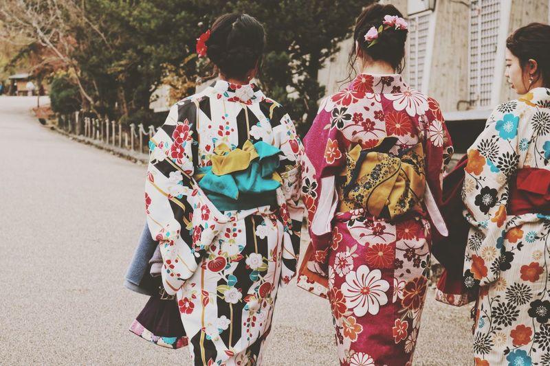 Kimono Eyeemphotography EyeEm Gallery EyeEm Selects EyeEmNewHere Real People Group Of People Rear View Lifestyles Women Day Walking Street Traditional Clothing People Kimono Togetherness