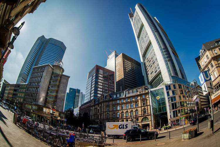 Glass modern skyscrapers of Frankfurt am Main, Germany. Fisheye view Architecture City City Center Cityscape Frankfurt Frankfurt Am Main Modern Architecture Skyscrapers Sunlight Building Exterior Built Structure Downtown District Europe Fish Eye Germany Glass Building Highrise Office Building Outdoors Reflective Street Sunny Day Urban Urban Landscape Urban Skyline