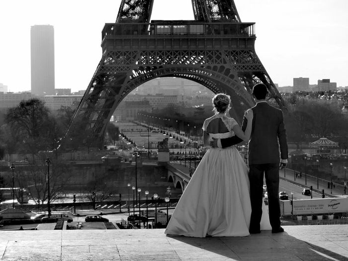 Paris City Of Love Love Forever Black And White Collection  Black And White Blackandwhite Photography Black And White Collection  Wedding Adult Built Structure Wedding Dress Outdoors Architecture Young Adult People Togetherness Go Higher
