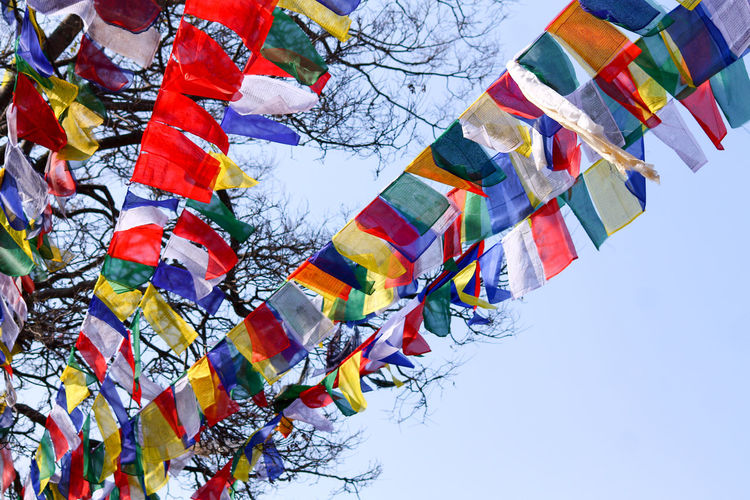 Low Angle View Outdoors Day No People Sky Multi Colored Nature Beauty In Nature Multi Colored Flags Colorful Flaglets Kathmandu, Nepal