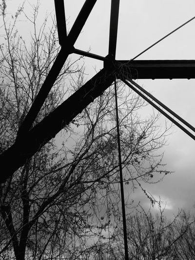 Low Angle View Sky No People Day Outdoors Steele Bridge Black And White Old Bridge Low Angle View