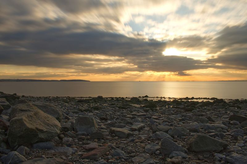 Long Exposure Sunset Sea Sky Nature Beauty In Nature Rock - Object Beach Horizon Over Water Water Scenics Tranquil Scene Tranquility Cloud - Sky No People Pebble Outdoors Pebble Beach Day