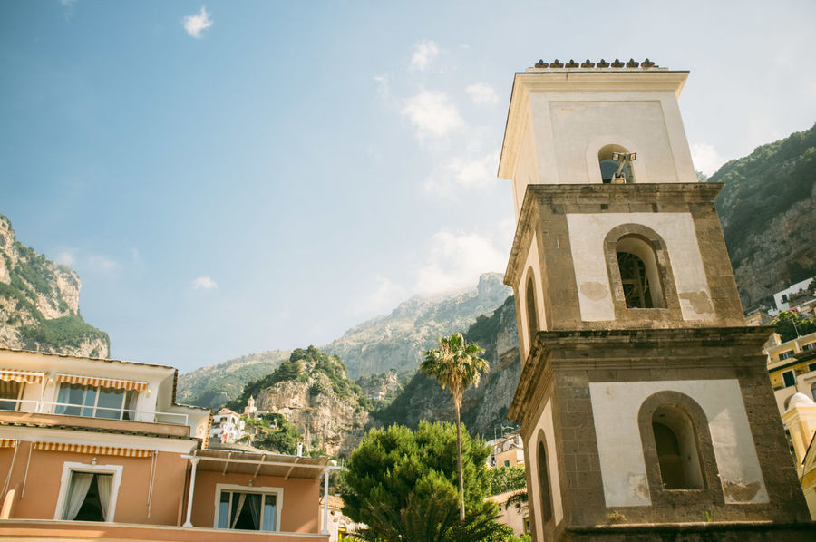 Architecture Beauty In Nature Blue Building Exterior Built Structure Cloud Cloud - Sky Day High Section Italy Low Angle View Mountain Nature Positano Positano, Italy Scenics Sky Vacation