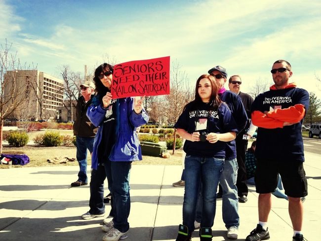 """""""Seniors need Saturday service"""" #deliveringforamerica postal workers rallying now!"""