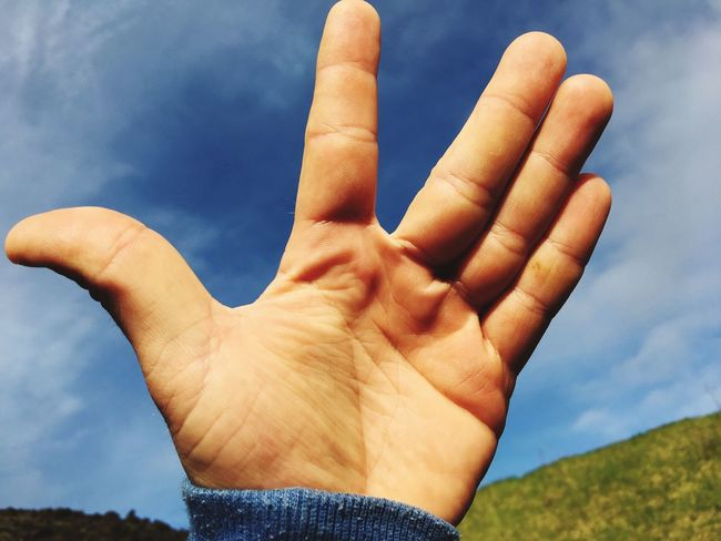 Just like that EyeEm Selects Sky Hand Human Hand Human Body Part Finger Day Body Part Close-up Lifestyles Blue Outdoors Hand Raised