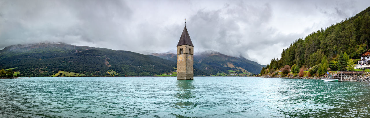 Laketower Panoramic Panoramic Photography Graun Im Vinschgau Graun Beauty In Nature Relaxing Check This Out Wonderful Eyeem Best Shots Eyeem Gallery Beautyinnature  Bluewaters Tower Flooded Clock Tower Water Nature Cloud - Sky Scenics - Nature Travel Destinations Beauty In Nature Outdoors No People Architecture