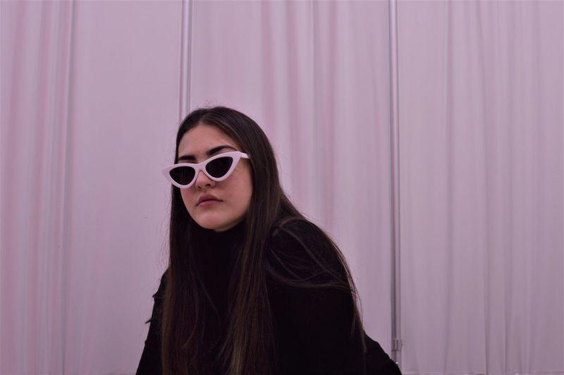 Bath Bathroom Curtain Indoors  Long Hair One Woman Only Sunglasses Colour Your Horizn Capture Tomorrow