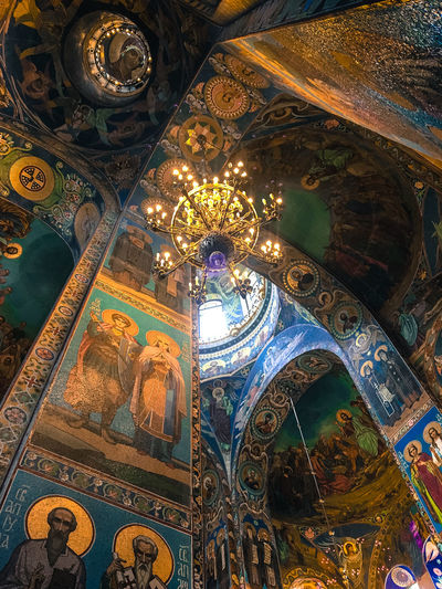 Church of the Savior on Spilled Blood (Russian: Церковь Спаса на Крови, Tserkovʹ Spasa na Krovi). This church was built on the spot where Emperor Alexander II was assassinated in March 1881. The church was built between 1883 and 1907. Both the interior and exterior of the church are decorated with incredibly detailed mosaics. Architecture Church Church Of The Savior On Spilled Blood Indoors  Mosaics Place Of Worship Religion Russia St Petersburg