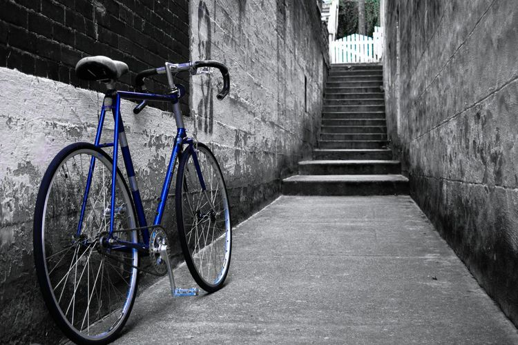 Get a handle on your lifeAnd Brick Wall Bicycle Ride Or Die Uphill Battle Blue