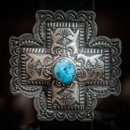 Silver & Turquoise NM Cross Design Buckle Art Close-up Cross Design Gear Native American Art New Mexico, USA Silver  Silver And Turquois Silver Buckle Turquoise USA