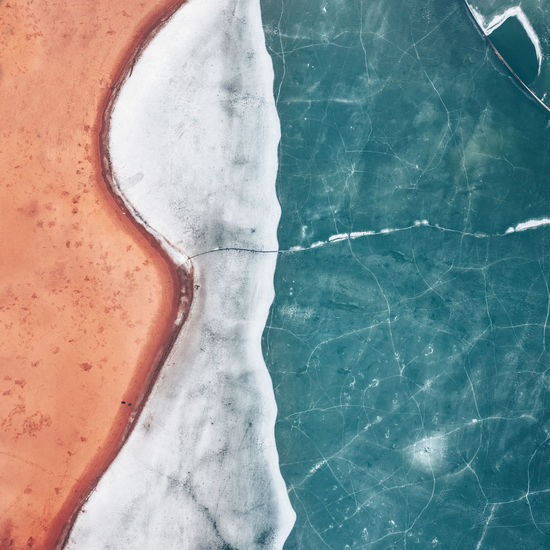 High angle view of frozen sea