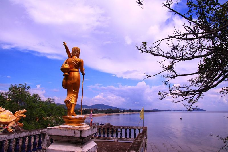 Buddha statue, located in Khao tao, Hua hin, Thailand Buddha Statue Hua Hin Beach Khao Tao Hua Hin Travel Thailand Sculpture Sky Cloud - Sky Statue Water Art And Craft Nature My Best Travel Photo