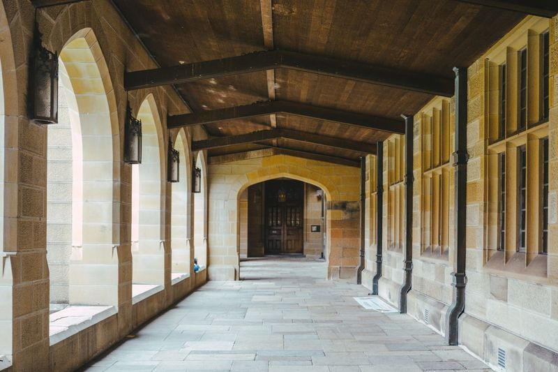 university of Sydney Sydney University Of Sydney Sydney University Universityofsydney Architecture Built Structure Building No People Arcade The Way Forward The Past History Direction Corridor Indoors  Day Architectural Column Arch Diminishing Perspective In A Row Old Empty Colonnade Ceiling