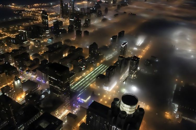 Foggy Chicago Illuminated Night Building Exterior City Architecture No People Built Structure Cityscape High Angle View Glowing Modern Building Outdoors City Life Light - Natural Phenomenon Nightlife Chicago Architecture City Cityscape Urban Skyline Urban Foggy Foggy Morning Morning Light
