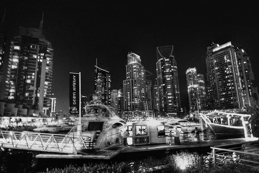 Dubai Marina Blackandwhite Monochrome Urban Landscape Street Photography