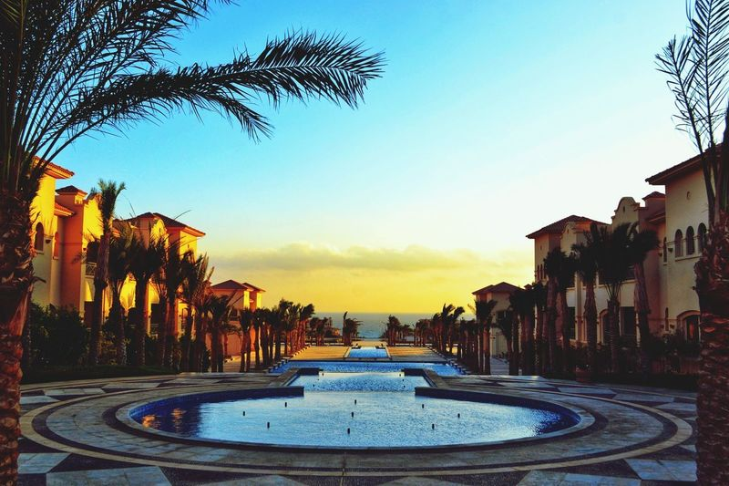 Egypt Egyptian Culture Egyptphotography Red Sea Sokhna This Is Egypt ❤ Beauty In Nature Clouds Water Swimming Pool Tree City Sky Architecture Palm Tree Palm Leaf Thatched Roof Horizon Over Water Resort Infinity Pool Palm Frond Fountain Calm Shore Tourist Resort