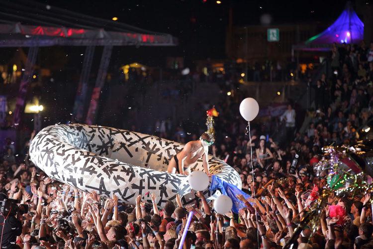 Deichkind crowdsurfing at Melt! Festival 2016 in Ferropolis Germany Deichkind Music Brings Us Together Festival Season MELT! Melt! Festival Festivals Crowd Crowdsurfing Fangirls Music Summertime Ferropolis