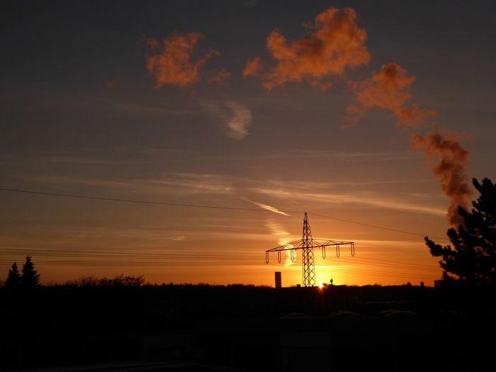 Sundown, Nightfall, Close Of Day, Twilight, Dusk, Evening Silhouette Technology Electricity  Sunset Beauty In Nature Nature Electricity Pylon View From My Window😍 Orange Color Sunsetlover Sunsetphotographs EyeEm Best Shots - Sunsets + Sunrise