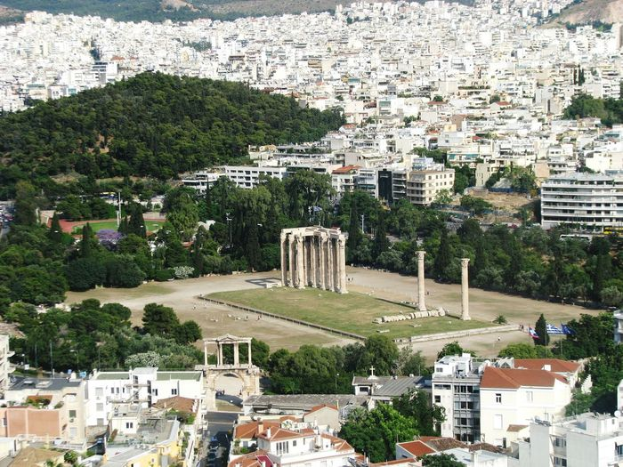 Historic temple of olympian zeus in city