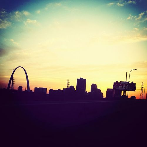 Rainbow silhouette of St.Louis, MO.
