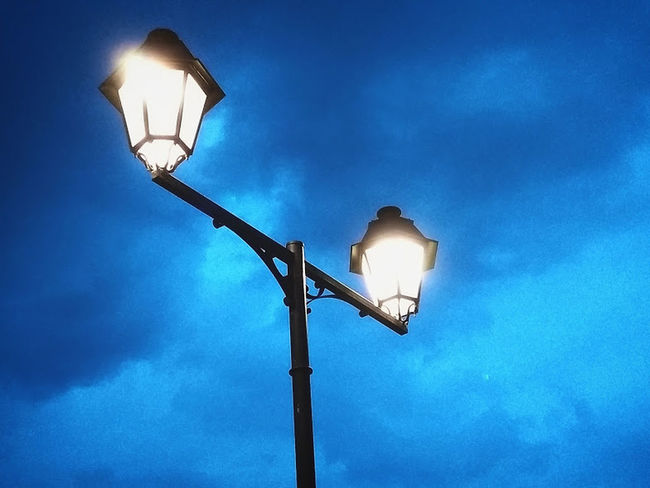 Blue Electric Lamp Electric Light Electricity  Illuminated Lantern Light Bulb Low Angle View Night No People Sky Street Light