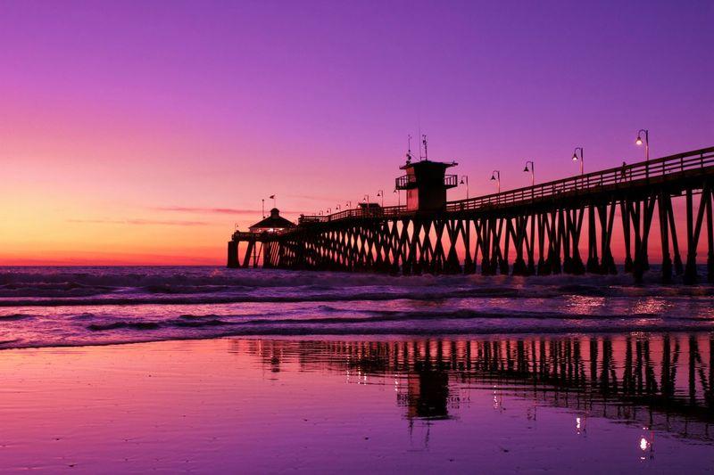 Pier Beach Water Sky Sunset Sea Built Structure Nature Reflection