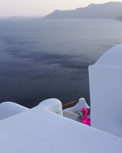 High Angle View Outdoors Day Sea Full Length Nature Tranquility Vacations Horizon Over Water Greece Travel Blue Landscape EyeEmNewHere Santorini Island One Person Only Women Adults Only One Woman Only People Adult Snow Occupation Mountain