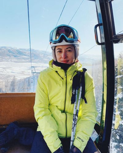 on the way up. Deer Valley Skiing Wasatch Mountains Park City, Utah Deer Valley Resorts Utah Leisure Activity One Person Looking At Camera Sport Winter Portrait Snow