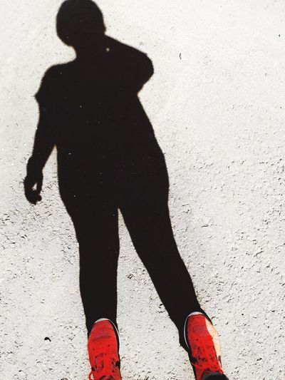 Just Me, my self and I... taking Selfie ✌ ... Shadow One Person Focus On Shadow Real People Standing Red Sunlight