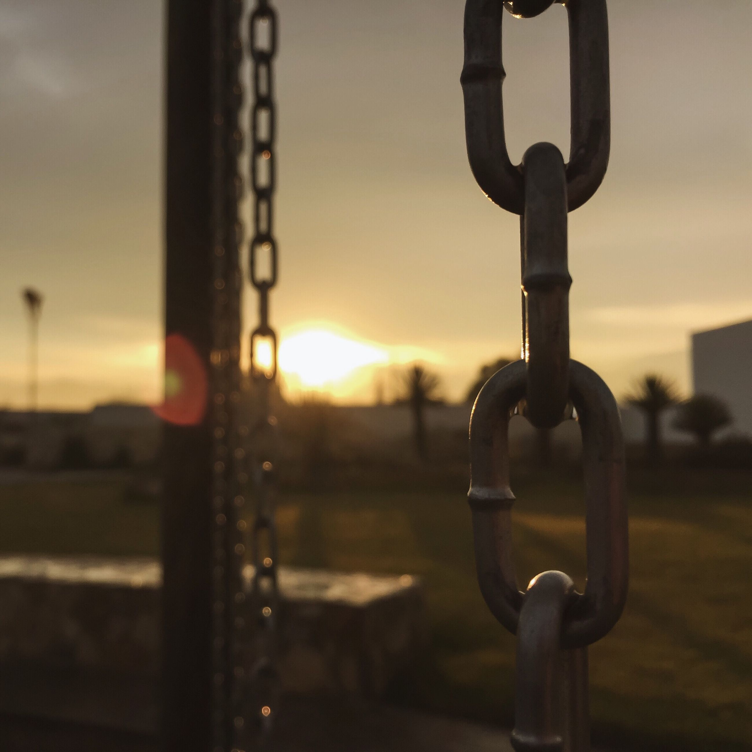 metal, focus on foreground, safety, protection, metallic, security, close-up, padlock, chain, fence, rusty, lock, strength, chainlink fence, sunset, no people, railing, connection, gate, sky