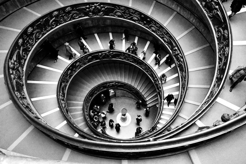 """""""Down"""" Travel Photography Black & White Black And White Blackandwhite Bnw_captures Bnw_collection Bnw Leicaq Leica Lens Leicacamera Architecture Steps And Staircases Staircase Spiral Built Structure"""