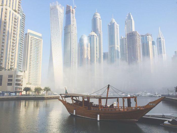 FoggyMorning ❤ Foggy Morning Beautiful Day Dubai Dubaimarina Skyscraper Lifeisbeautiful Unitedarabemirates Ship Water Architecture Mydubai Morning Foggy Day Misterious Hello World
