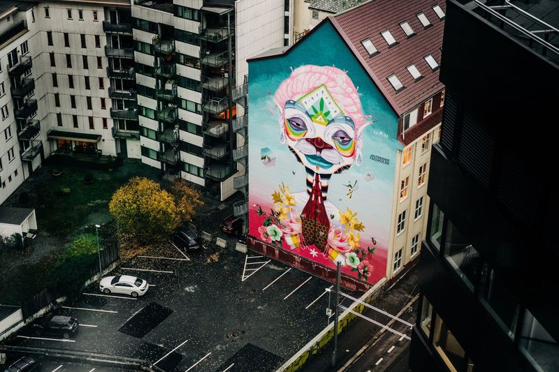 High angle view of graffiti on building wall