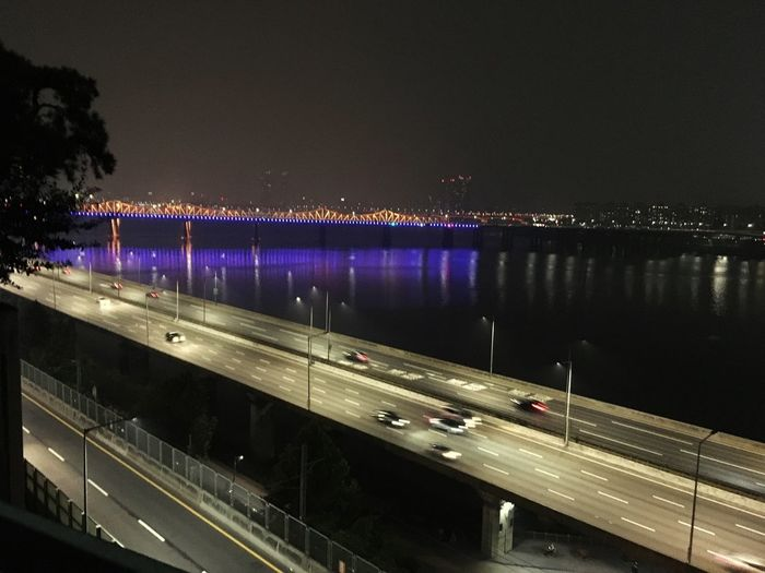 Hannam Seoul Night Water Illuminated Architecture Built Structure Transportation Bridge