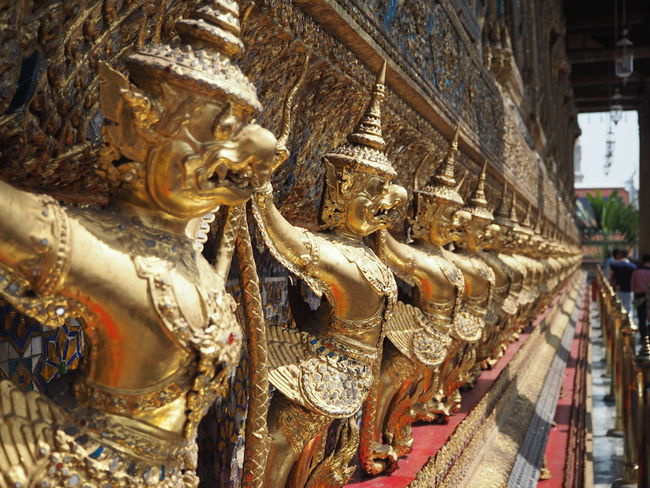 Art And Craft Statue Sculpture Gold Colored Religion Spirituality Gold Built Structure Architecture Close-up Thailand Palace Bangkok Wat Phra Kaeo Travel Destinations