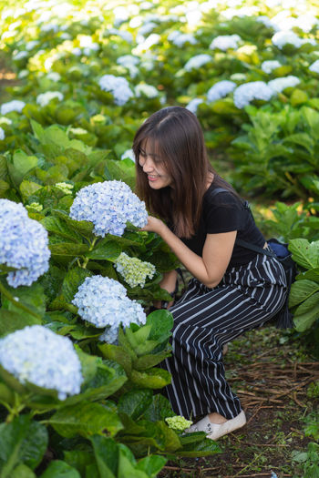 Portrait Hydrangea Hydrangea Flower Plant One Person Leisure Activity Real People Nature Day Women Flower Casual Clothing Flowering Plant Girls Three Quarter Length Lifestyles Leaf Young Women Child Growth Green Color Young Adult Hairstyle Outdoors Teenager Bangs