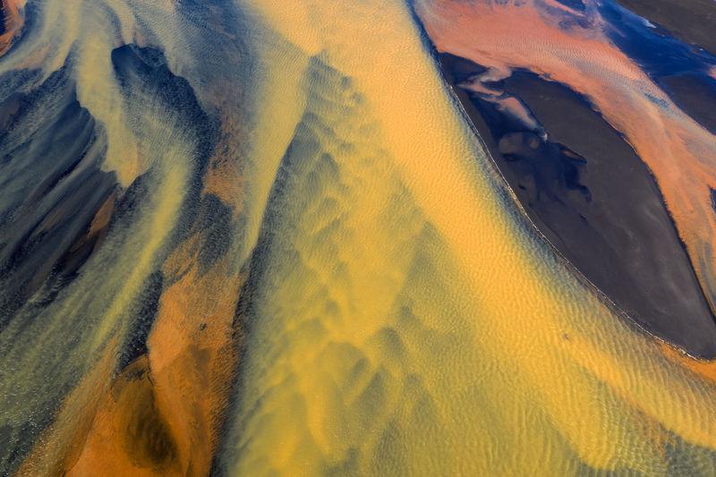 High angle view of yellow land