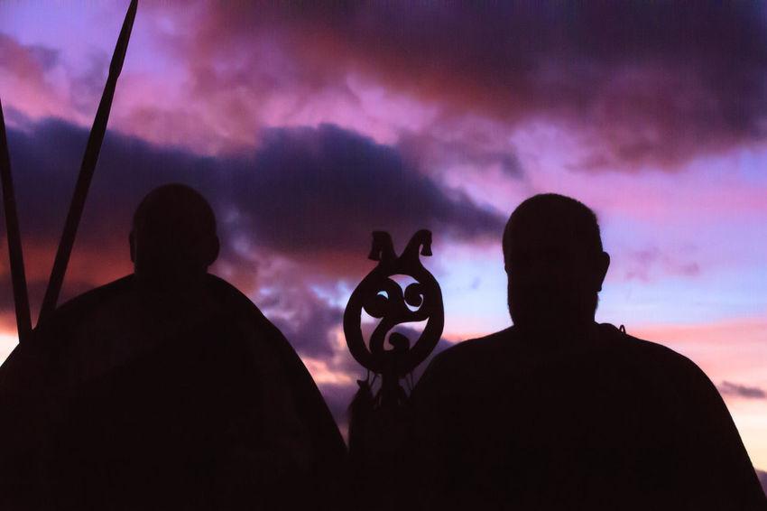 Silhouette Men Sky Cloud - Sky People Real People Nature Outdoors Night Portrait Sunset