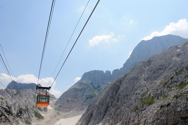 Low Angle View Of Overhead Cable Car Over Mountains