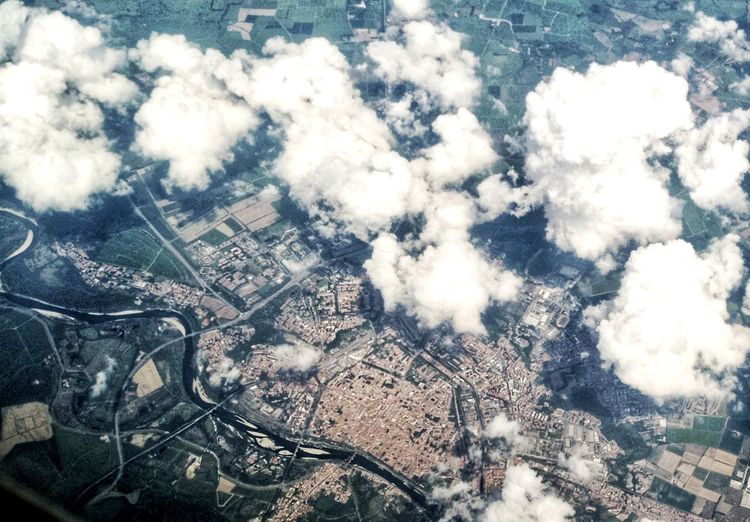 Flying Aeroplane High Angle View Altitude Aerial View High Angle View Backgrounds Sky Cloud - Sky Foggy