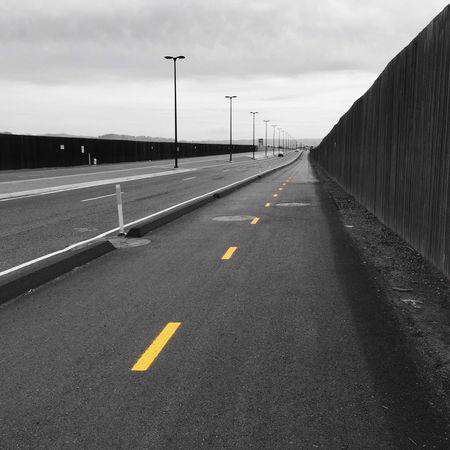 Road Deserted Bike Lane Stripes Lane Perspective Leading Line Driving Lonely Highway