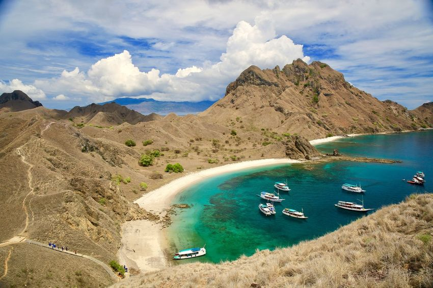 Padar Peak, Komodo National Park, East Nusa Tenggara, Flores, Indonesia, @himsaifanah Komodo National Park INDONESIA Himsaifanah EyeEm Nature Collection EyeEm Best Shots EyeEm Travel Photography EyeEm Masterclass Transportation Scenics Mountain Nautical Vessel Sky Nature Mode Of Transport Beauty In Nature High Angle View Water Cloud - Sky Day Outdoors Tranquility Mountain Range Landscape Sea Sand No People