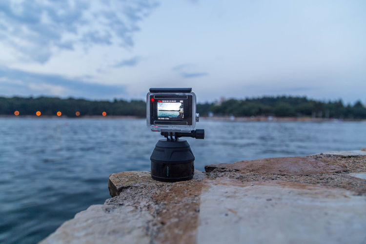 GoPro timelapse in progress... Camera Cameras Croatia Goprohero Beauty In Nature Close-up Cloud - Sky Evening Evening Sky Focus On Foreground Gopro Goprohero4 Landscape Lights In The Distance Nature Outdoors Photography Porec Scenics Sea Sea And Sky Sky Technology Timelapse Water