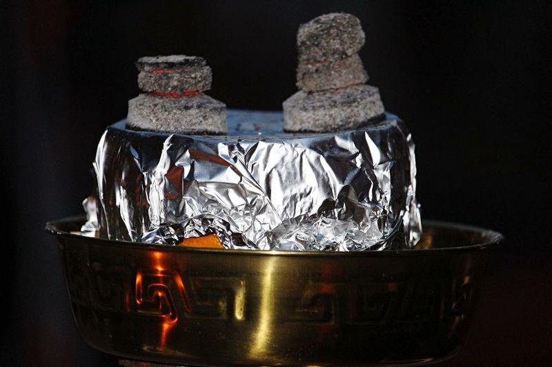 Hookah Orange 🍊 Burningcharcoal Aluminium Foil Black Background No People Close-up Burning