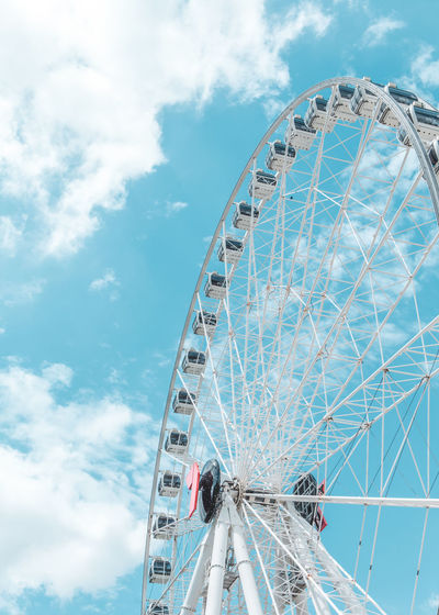 Amusement Park Amusement Park Ride Ferris Wheel Cloud - Sky Sky Arts Culture And Entertainment Low Angle View Day Built Structure Nature Architecture No People Leisure Activity Fairground Outdoors Metal Shape Large Geometric Shape Circle Wheel Spoke Wallpaper Sky And Clouds Sky Collection